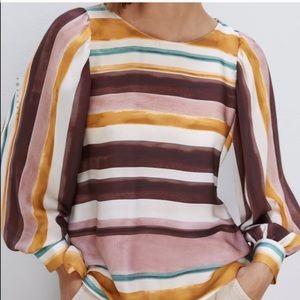 Zara striped blouse with voluminous sleeves